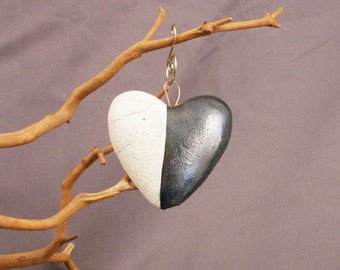 White and Black Valentine Crackle Heart Raku Glazed Wall relief Ornament (136)