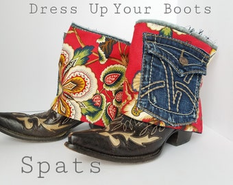Boot Spats Boot Cuffs Toppers Anklets Custom Leather Boot Socks Leg Warmers Decor Gypsy Hippie Flower Distressed Denim Pocket Ankle Boots