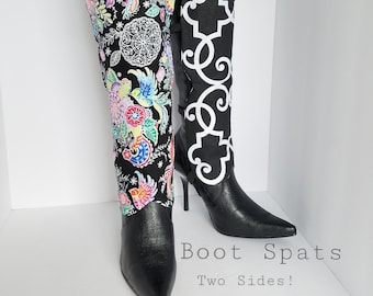 Black Boot Spats Boot Cuffs Toppers Anklets Custom Leather Boot Socks Leg Warmers Decor Flower White Geometric Thigh High Boots OOAK