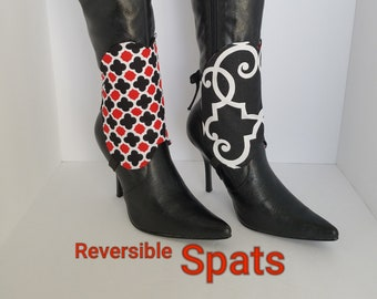 Black Boot Spats Boot Cuffs Toppers Anklets Custom Leather Boot Socks Leg Warmers Decor Geometric Red White Minimalist Two Tone Ankle Boots