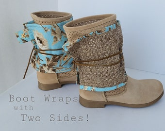 Boot Spats Boot Cuffs Toppers Anklets Custom Leather Boots Boot Socks Decor Leg Warmers Shabby Chic Tweed Brown Blue Flowers Ankle Boots