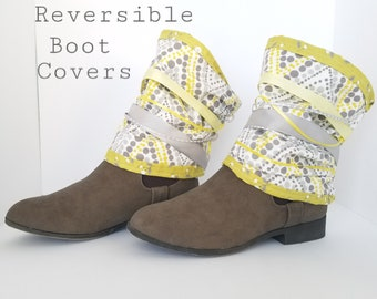 Boot Spats Boot Cuffs Toppers Anklets Custom Leather Boot Socks Leg Warmers Decor Hippie Shabby Chic Gray Yellow Ribbon Lace Ankle Boots