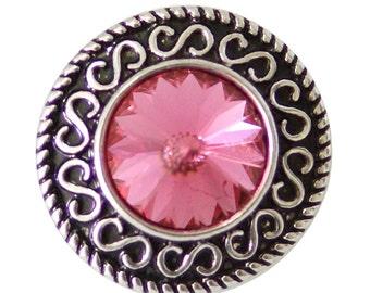 1 PC 18MM Pink Rhinestone Silver Snap Candy Charm kb8796 CC1035
