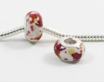 3 Beads - Acrylic Paint Splatter Yellow Silver European Bead Charm E0202