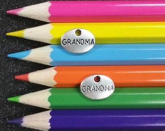 5 PCS - Oval Grandma Message Word Silver Charm Pendant C0718