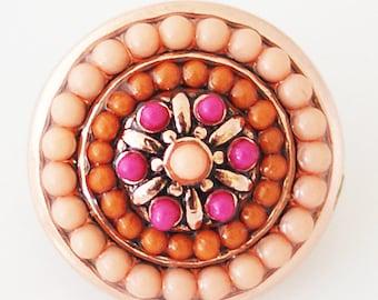 1 PC 18MM Orange Pink Rhinestone Pearl Silver Candy Snap Charm KB6391 Cc0690