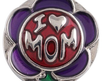 1 PC - 18MM Love Mom Flower Enamel Candy Snap Charm Silver Tone KC5247 Cc3399