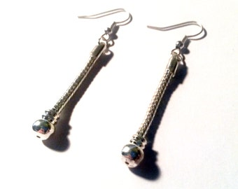 1 pair 58MM Add A Bead Beadable Dangle Earrings Snake Chain Silver Tone Earbob Fits European Beads Charms and More C0634
