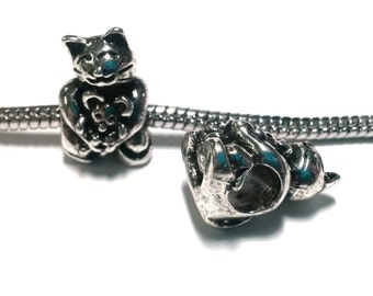 3 Beads - Kitty Cat Holding Mouse Animal Silver European Charm Bead E0162