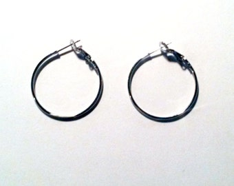 2 pair - 30MM Add A Bead Beadable Hoop Earrings Silver for European Bead Charm C0633