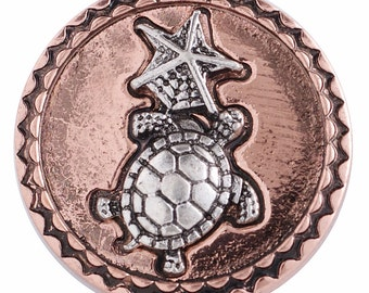 1 PC 18MM Turtle Starfish Copper Silver Candy Snap Charm kc6220 CC3256