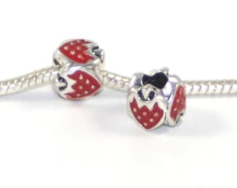 3 Beads - Red Enamel Strawberry Fruit Silver European Bead Charm E0746