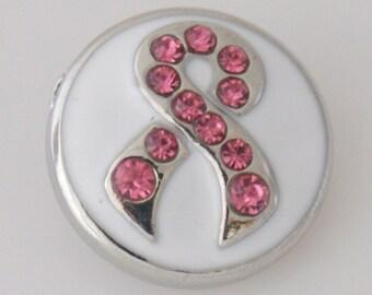 1 PC 18MM Pink Awareness Ribbon Enamel Rhinestone Silver Candy Snap Charm KB6118 Cc0108