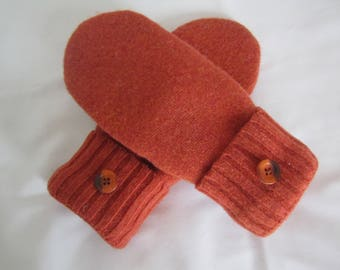 womens lambswool mittens rusty orange size med fleece lined christmas gift rts - Christmas Mittens