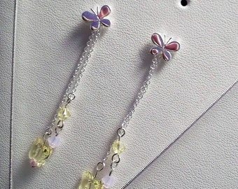 Fluttershy Sterling Silver and Swarovski Earrings and Necklace set