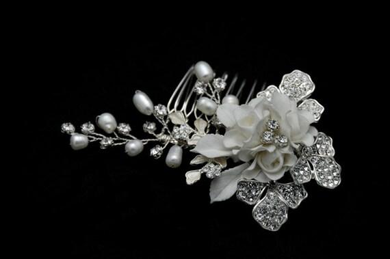 Bridal peigne - claire strass cristal, perle de l'eau fraîche, feuilles de porcelaine & peigne cheveux bridal fleur en soie d'inspiration vintage