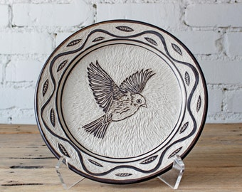 Hand Carved Bird Sgraffito Plate
