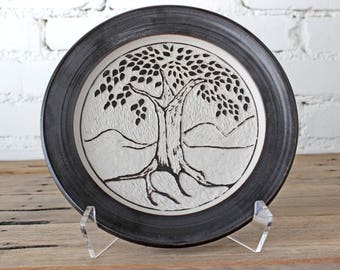 Hand Carved Tree Sgraffito Plate