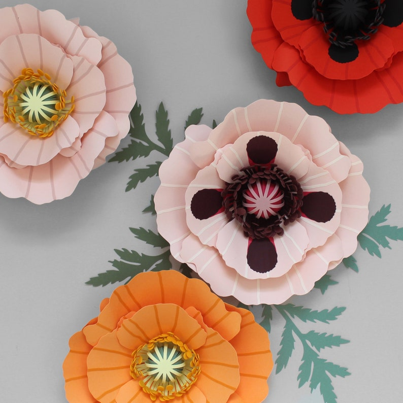 Paper Poppy Flower Template and diy Tutorial Digital SVG DXF image 0