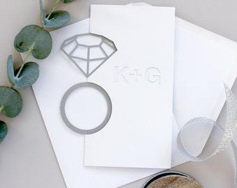 Engagement Card - Personalised Papercut Diamond Ring Card