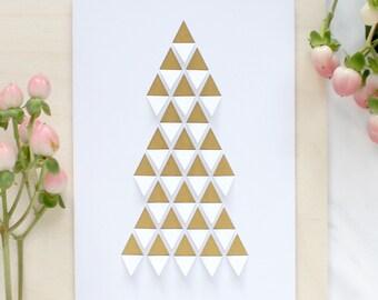 Folded Triangles Christmas Tree Greetings Card