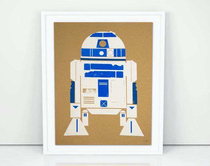 R2D2 Droid Wood Block Screen Print Poster