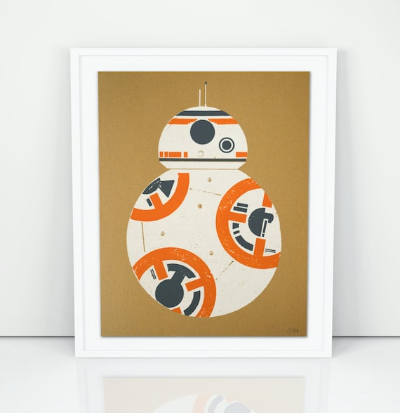 BB8 Droide Wood Block Screen Print Poster