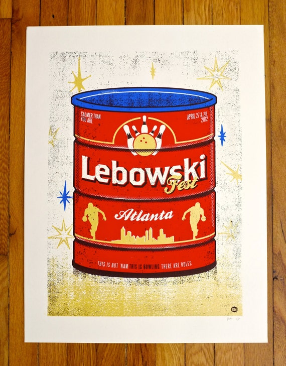 Lebowski Fest : Atlanta 2012 Screen printed poster - artist proof