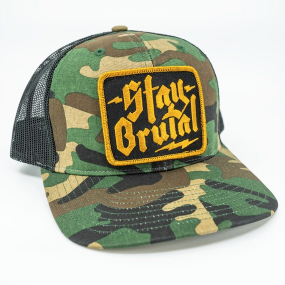 Stay Brutal Camo Trucker Hat