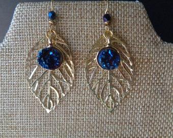 Starry Night Guilded Leaf Earrings