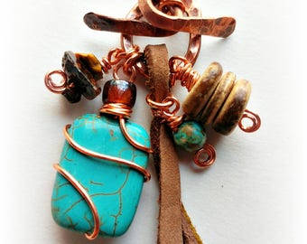 Desert Oasis Necklace, Turquoise, Leather, Wood Beads, Adventure Awaits, Outdoors, Enthusiasts, Journey