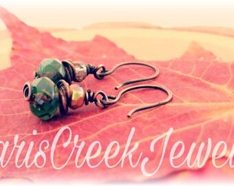 Woodland Earrings, Earthtones, Czech glass, holiday gift