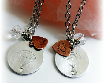 BFF Diamond Necklace Set, Best Friends, Girlfriends, Mother Daughter Jewelry, Sisters, Soul Sisters