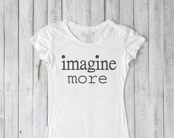 Women's T shirt, Bamboo Tshirt, T shirts with Sayings, Organic Clothing, Cubism Art, Scoop Neck Tee, IMAGINE MORE by Uni-T