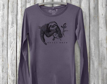 Women's Bamboo T-shirt, Long Sleeve T shirts, Organic Long Sleeve Shirt, T shirts for Women, Organic Clothing, Chill More by Uni-T