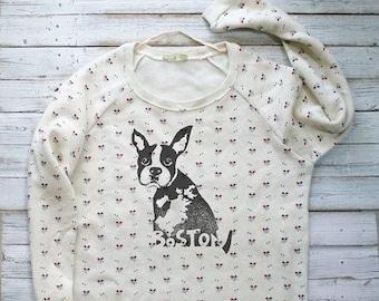 BOSTON, Daisy Print Sweatshirt for Women, Scoop Neck Sweatshirt, Cozy Pullover