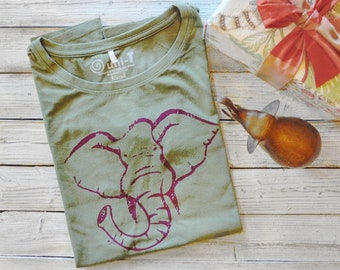 Elephant T shirt | Women's Bamboo T shirt | Organic Cotton Clothing | Elephant Gift | Womens Graphic Tee Shirt | ELEPHANT | Uni-T