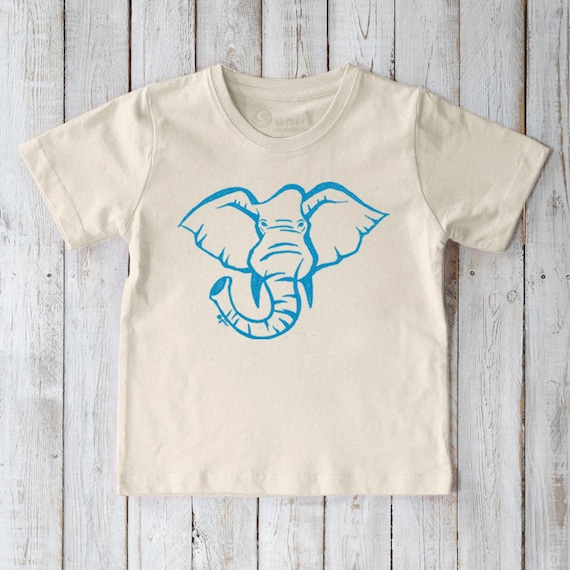 Eco-Friendly Cotton Toddler T-Shirt With Hand-Painted Elephant Picture Book Illustration Short Sleeve Children/'s Clothing