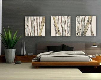 Gentil Extra Large Wall Art Oversized Triptych Set Dining Room Neutral Decor White  Huge Canvas Print Tree Trunks Pastels White Living Room Artwork