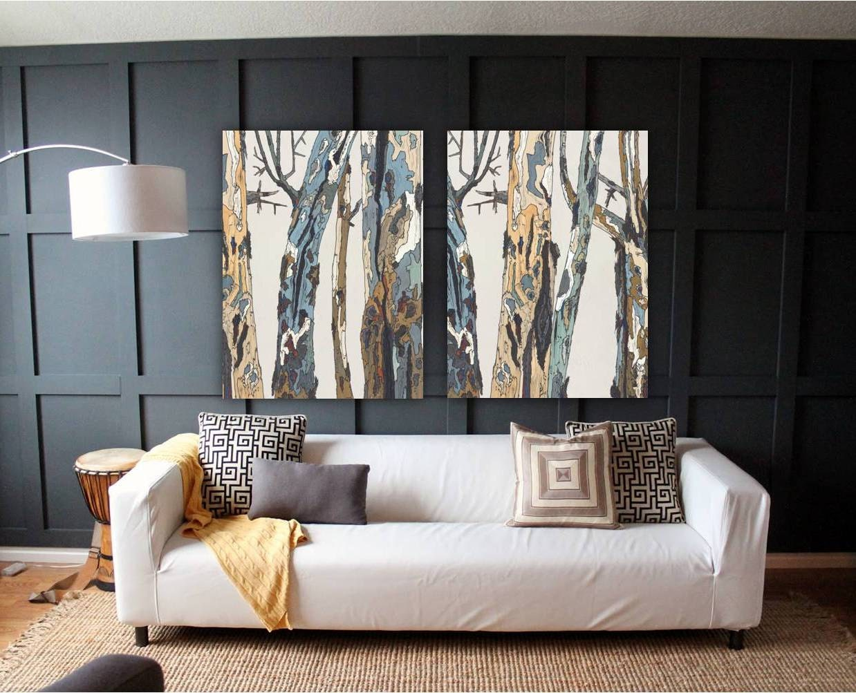 Extra Large Wall Art Diptych Set Canvas Oversized White Etsy