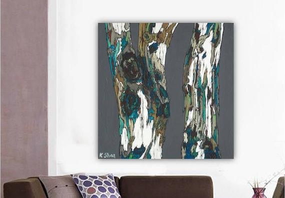 Extra Large Wall Art Canvas Print Masculine Artwork Trees Gray Teal Canvas Painting Office Bedroom Living Dining Room Decor K Shoa Kshoa
