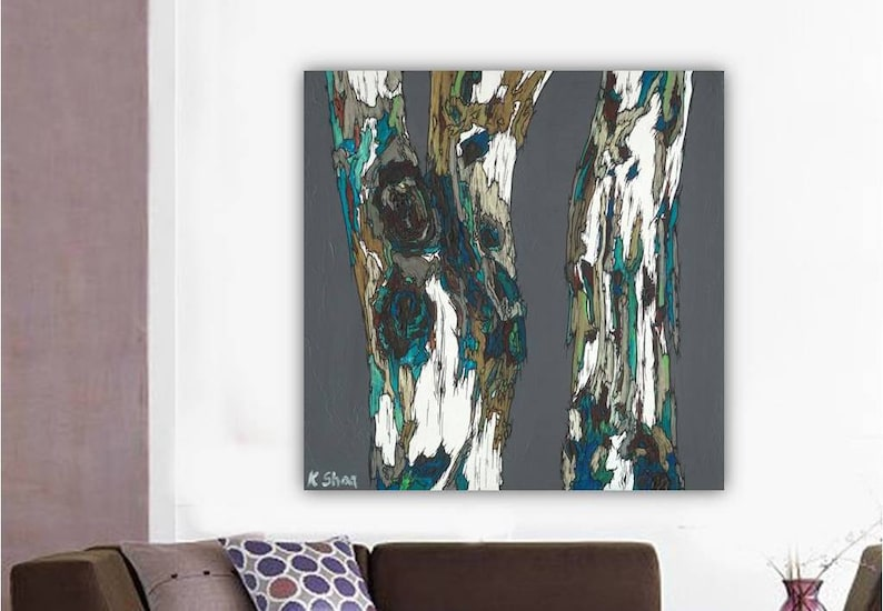 Extra Large Wall Art Canvas Print Masculine Artwork Trees Gray Teal Canvas  Painting Office Bedroom Living Dining Room Decor K Shoa Kshoa