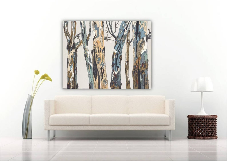 Oversized Wall Art, Modern Rustic Artwork, Extra Large Canvas Print, Home  Wall Decor, Living Dining Room Bedroom Tree Trunks Over Sofa