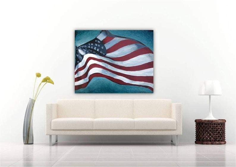 Gentil Extra LARGE Wall Art American Flag Veteran VA US Patriotic Canvas Print  Living Room Decor Red White Blue Family Room Office Decor Gift