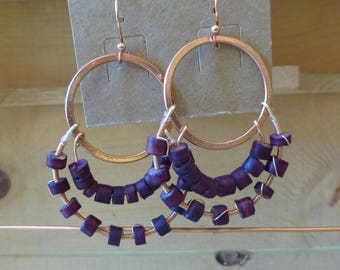 Purple coconut bead earrings