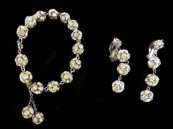 1920s Rhinestone Ball Bracelet and Earrings