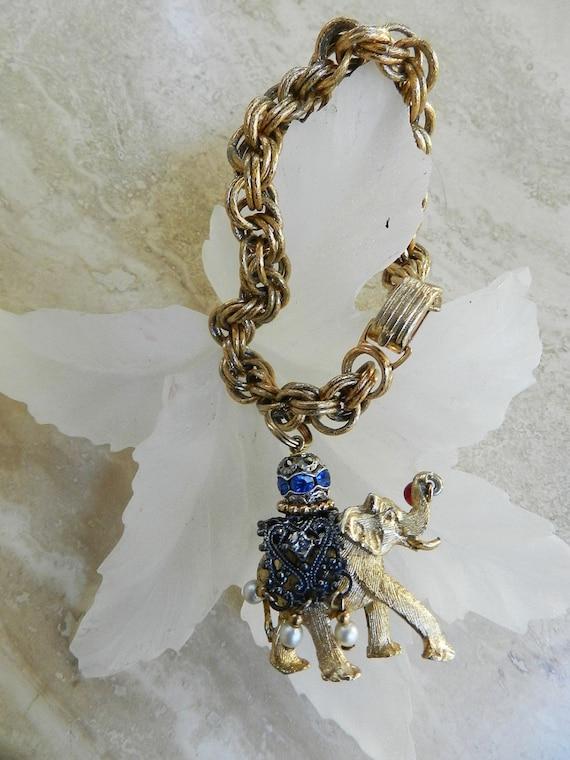 Vintage 1950s Napier Elephant Charm Bracelet