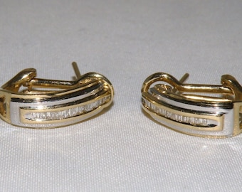 14 KT Yellow and White Gold and Diamond Earrings
