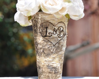 Personalized Shabby Chic/Rustic Chic Birch Bark Vase - Custom Burned and Engraved Birch Bark Vase - Wedding Centerpiece - Wedding Party Gift