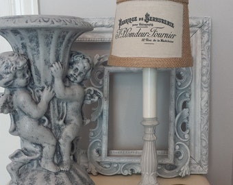 "Lamp Paris Grey Handpainted Candlestick Accent Lamp With Custom 5"" Burlap Shade French Logo 9"" Tall French Farmhouse Shabby Cottage Style"